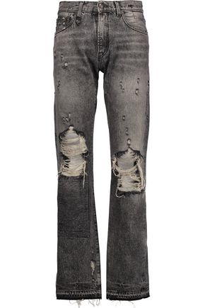 R13 Classic faded distressed boyfriend jeans