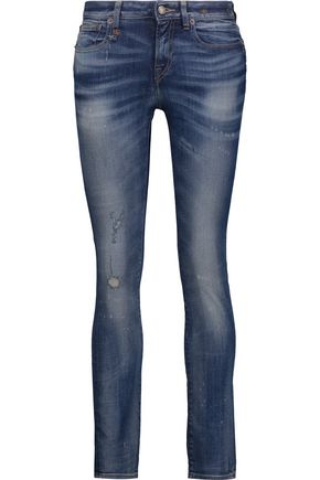 R13 Kate distressed mid-rise skinny jeans