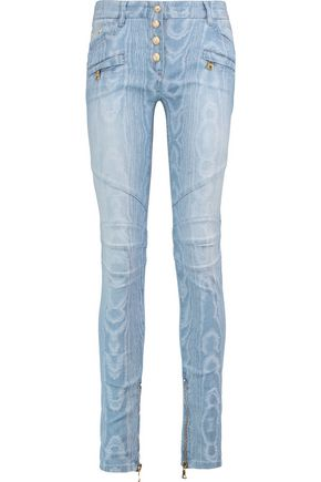 BALMAIN Embroidered mid-rise skinny jeans