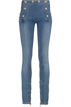 BALMAIN Button-detailed faded high-rise skinny jeans