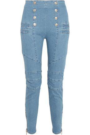 PIERRE BALMAIN Moto-style high-rise skinny jeans