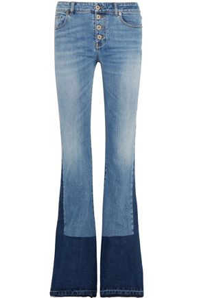 ROBERTO CAVALLI Two-tone mid-rise bootcut jeans