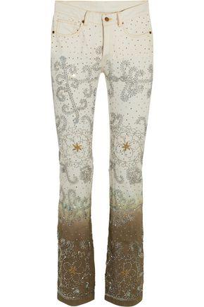 ASHISH Voyage embellished dégradé mid-rise bootcut jeans