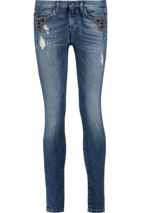7 FOR ALL MANKIND Mid-rise stud-embellished skinny jeans