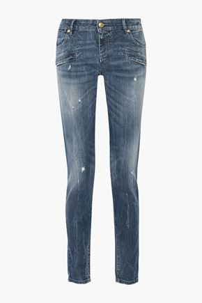 PIERRE BALMAIN Mid-rise distressed faded skinny jeans