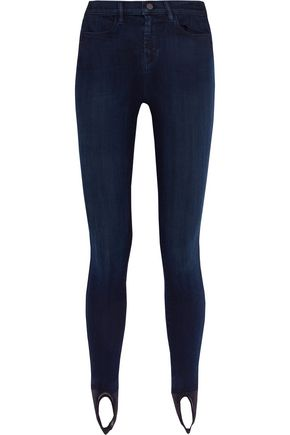 J BRAND Lexi mid-rise mesh-paneled skinny jeans
