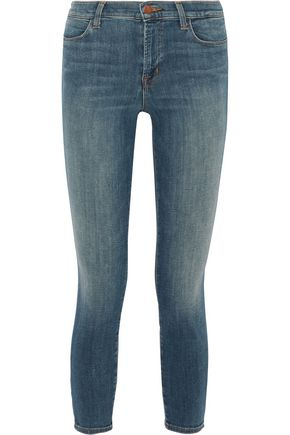 J BRAND Mid-rise cropped faded skinny jeans