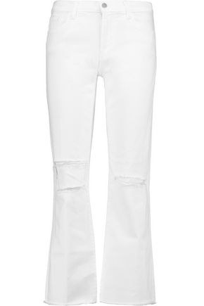 J BRAND Selena  mid-rise distressed bootcut jeans