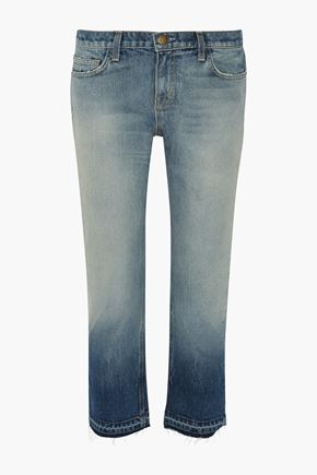 CURRENT/ELLIOTT Dégradé distressed cropped straight-leg jeans