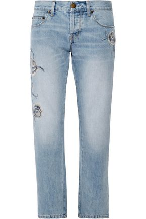 CURRENT/ELLIOTT The Crossover embroidered mid-rise straight-leg jeans