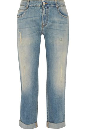 STELLA McCARTNEY Cropped distressed boyfriend jeans