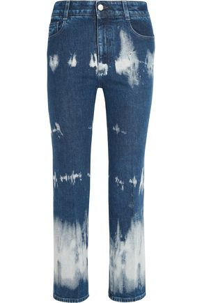 STELLA McCARTNEY Cropped tie-dye high-rise bootcut jeans