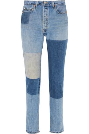 RE/DONE High-rise patchwork slim-leg jeans