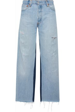 RE/DONE Two-tone distressed high-rise straight-leg jeans