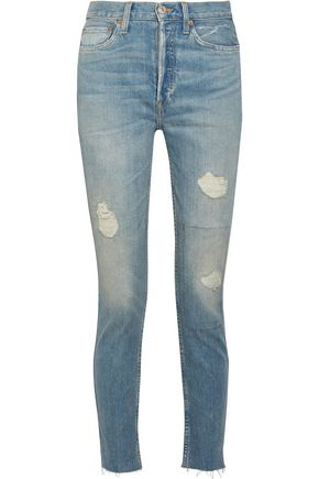 RE/DONE High-rise cropped distressed skinny jeans