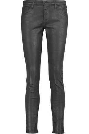 AG Jeans Coated low-rise skinny jeans