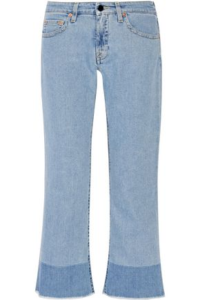 VICTORIA, VICTORIA BECKHAM Cropped frayed mid-rise boyfriend jeans