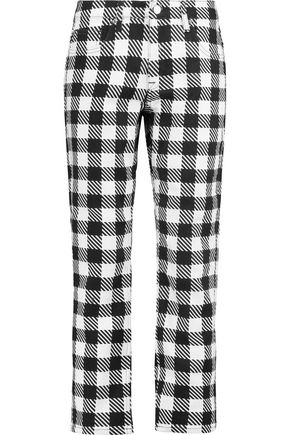 VICTORIA, VICTORIA BECKHAM Gingham low-rise straight-leg jeans