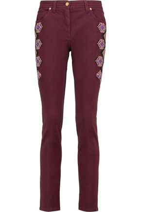 ETRO Embroidered high-rise skinny jeans