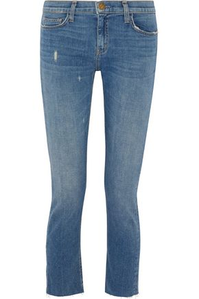 CURRENT/ELLIOTT The Cropped Straight faded mid-rise jeans