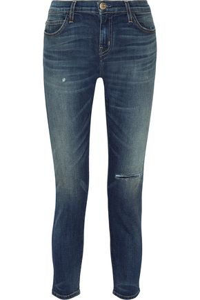 CURRENT/ELLIOTT The Selvedge Easy Stiletto faded mid-rise skinny jeans