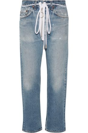OFF-WHITE™ Distressed cropped boyfriend jeans