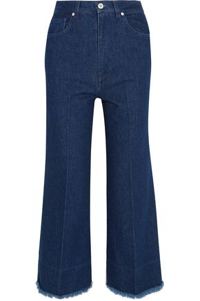 CEDRIC CHARLIER Two-tone high-rise wide-leg jeans