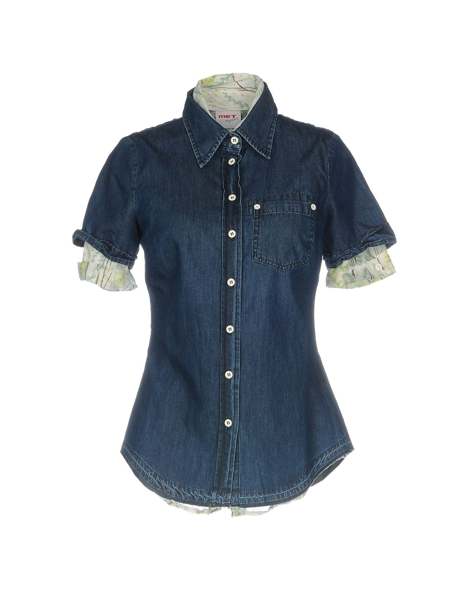 рубашки met рубашка MET in JEANS Джинсовая рубашка