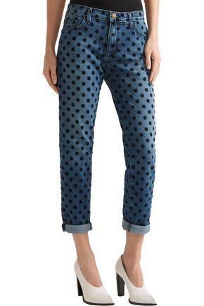 ... CURRENT/ELLIOTT The Fling flocked mid-rise straight-leg jeans ...