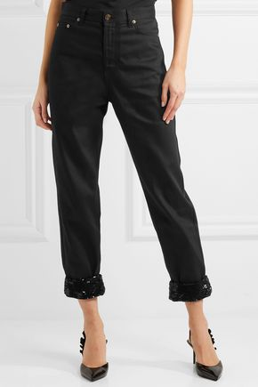 SAINT LAURENT Cropped sequin-embellished boyfriend jeans