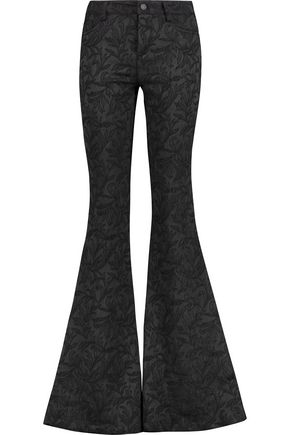 ALICE + OLIVIA Embroidered satin-jacquard flared pants