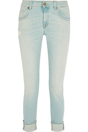 7 FOR ALL MANKIND Relaxed Skinny faded high-rise slim-leg jeans