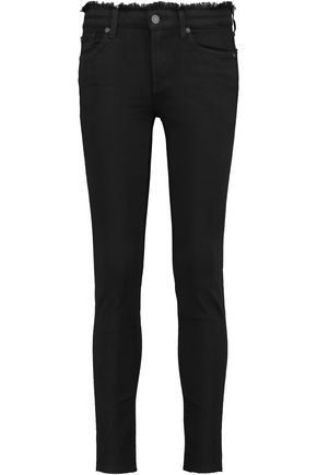 7 FOR ALL MANKIND The Skinny Crop frayed mid-rise jeans