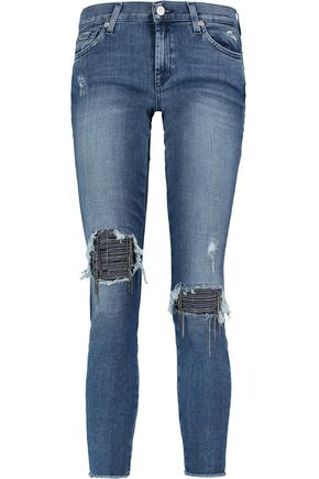7 FOR ALL MANKIND The Skinny Crop low-rise distressed jeans