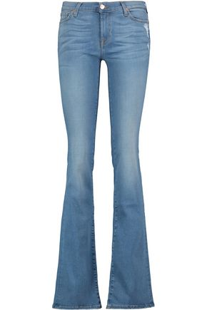 7 FOR ALL MANKIND Mid-rise crystal-embellished distressed bootcut jeans