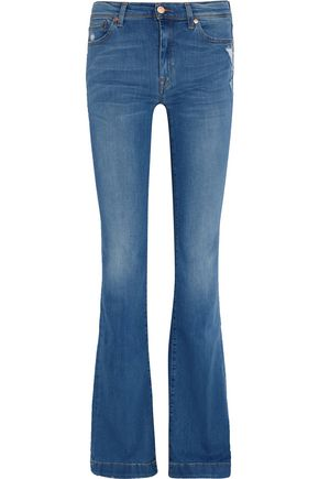 7 FOR ALL MANKIND Charlize mid-rise distressed bootcut jeans