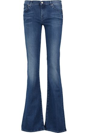 7 FOR ALL MANKIND Low-rise whiskered bootcut jeans
