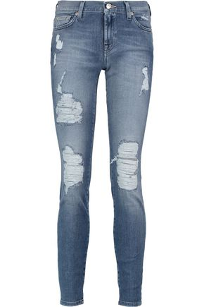 7 FOR ALL MANKIND High-rise distressed skinny jeans