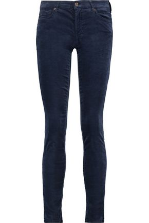 7 FOR ALL MANKIND The Skinny mid-rise stretch-velvet jeans