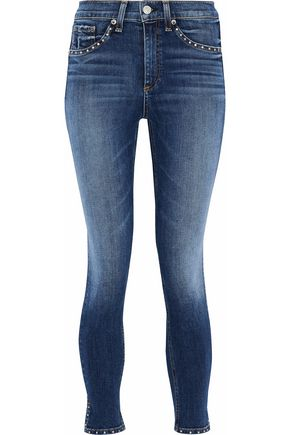 RAG & BONE Studded faded high-rise skinny jeans