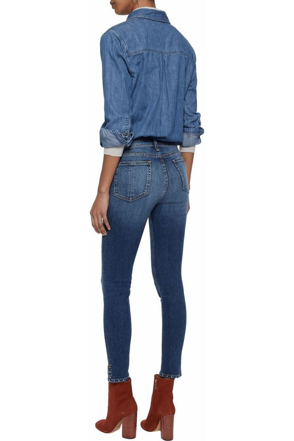 Studded faded high-rise skinny jeans | RAG & BONE | Sale up to 70% off |  THE OUTNET