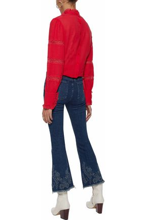 RAG & BONE Embroidered mid-rise flared jeans