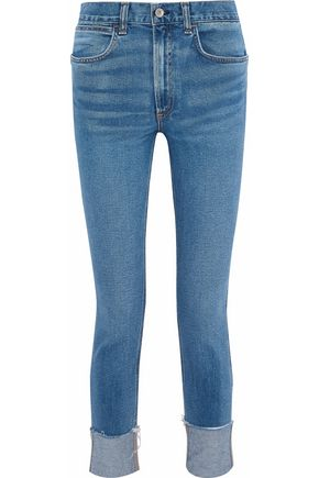 RAG & BONE Frayed faded high-rise slim-leg jeans