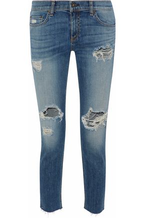 RAG & BONE Cropped distressed faded mid-rise skinny jeans