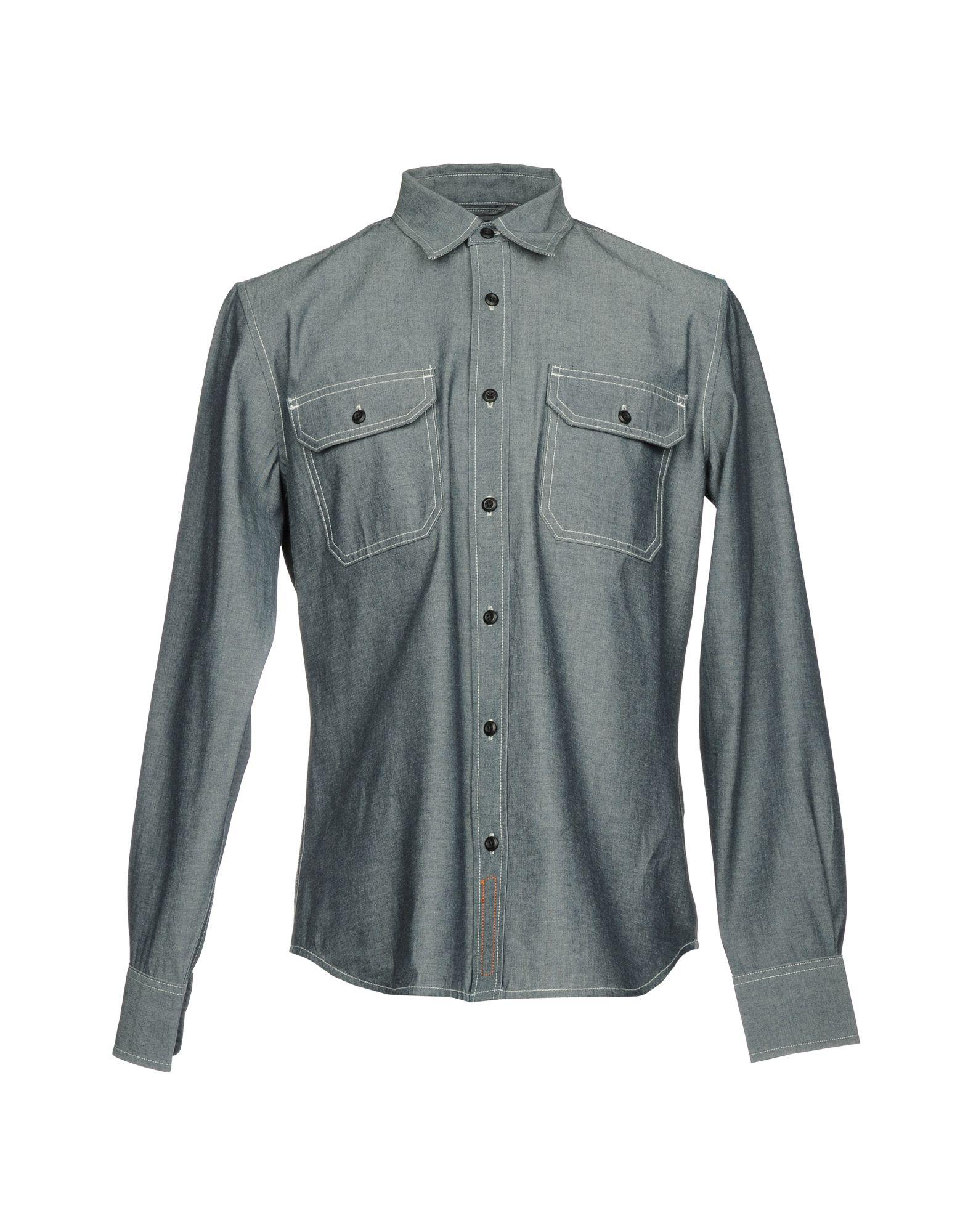 《送料無料》JEAN SHOP メンズ デニムシャツ グレー L コットン 100%