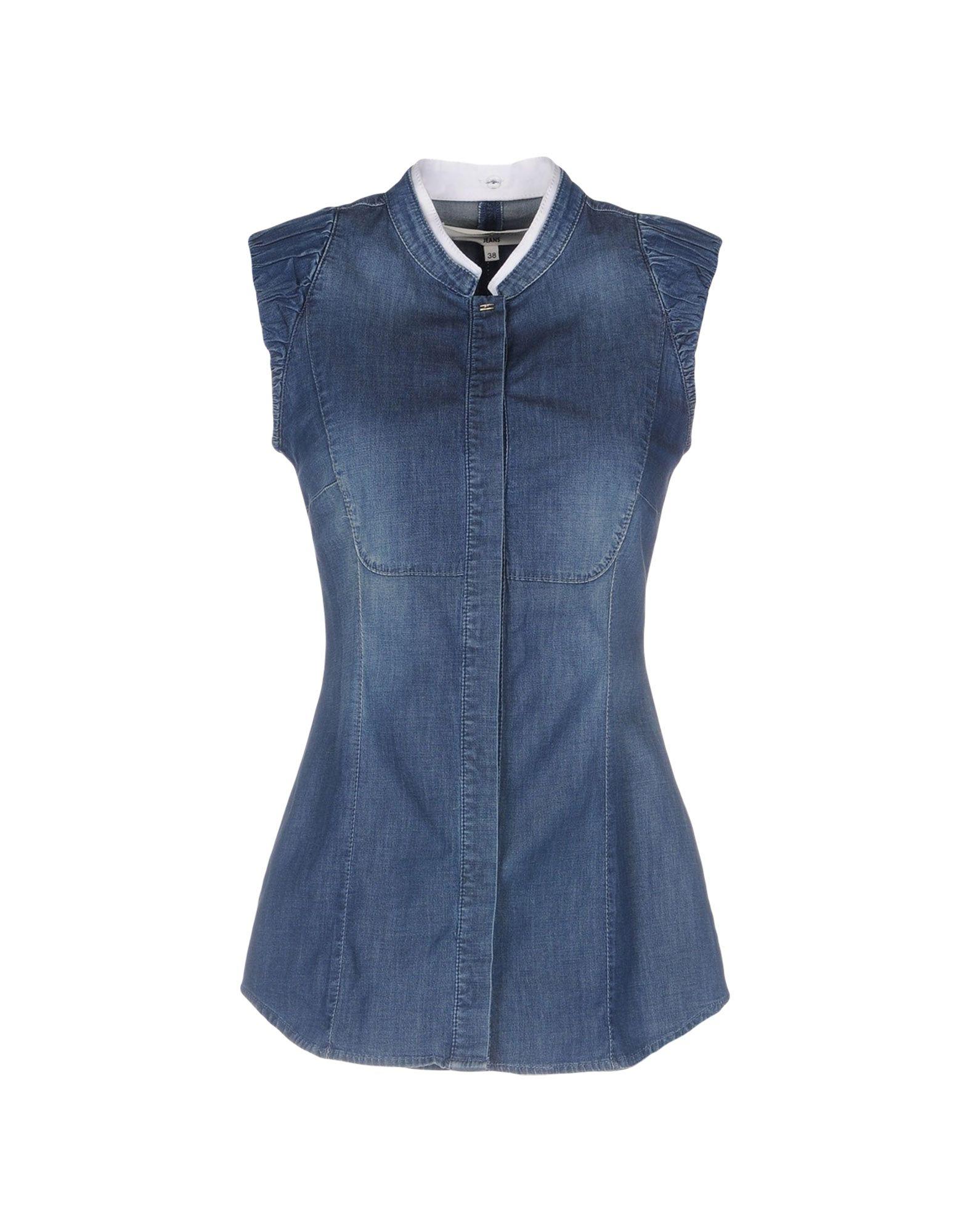 ELISABETTA FRANCHI JEANS Джинсовая рубашка elisabetta franchi рубашка от elisabetta franchi 55248