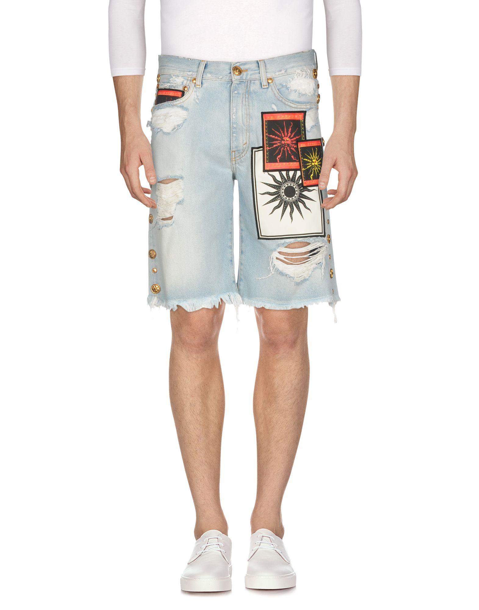 《期間限定セール中》FAUSTO PUGLISI メンズ デニムバミューダパンツ ブルー 50 コットン 100%