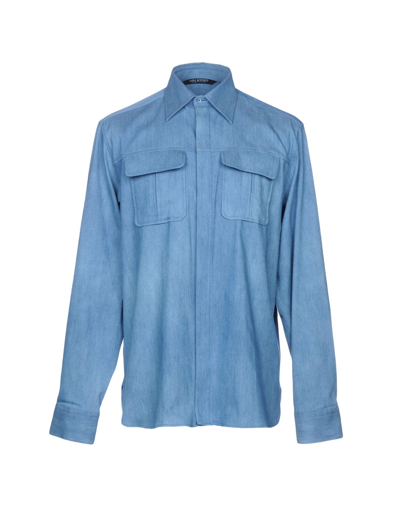 NEIL BARRETT Джинсовая рубашка футболка мужская neil barrett fa01 2015