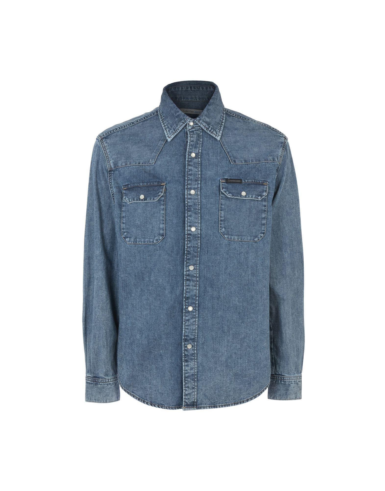 CALVIN KLEIN JEANS Джинсовая рубашка рубашка женская calvin klein jeans цвет синий j20j209111 9110 размер xs 40 42