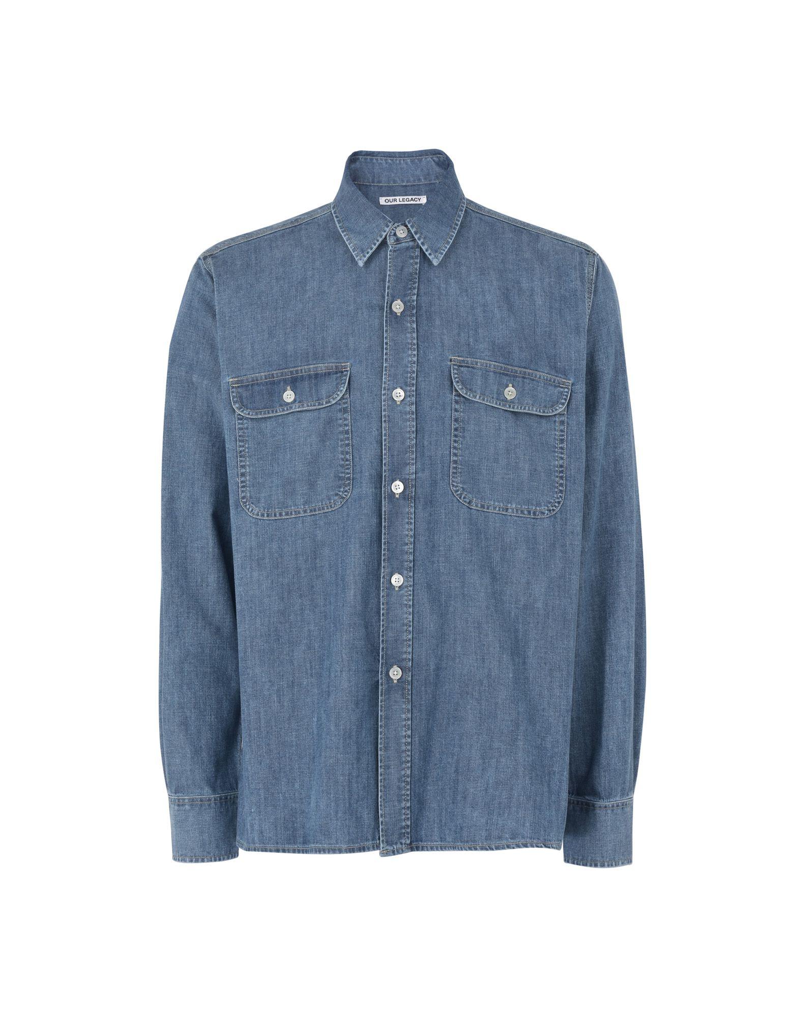 《送料無料》OUR LEGACY メンズ デニムシャツ ブルー 46 コットン 100% Our Legacy Country Shirt Vintage Denim